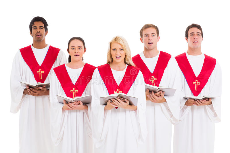 Church choir singing. From hymnal isolated on white background stock photos