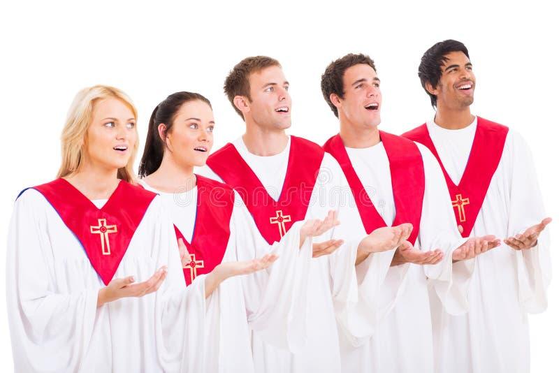 Church choir singing. On white background royalty free stock photo