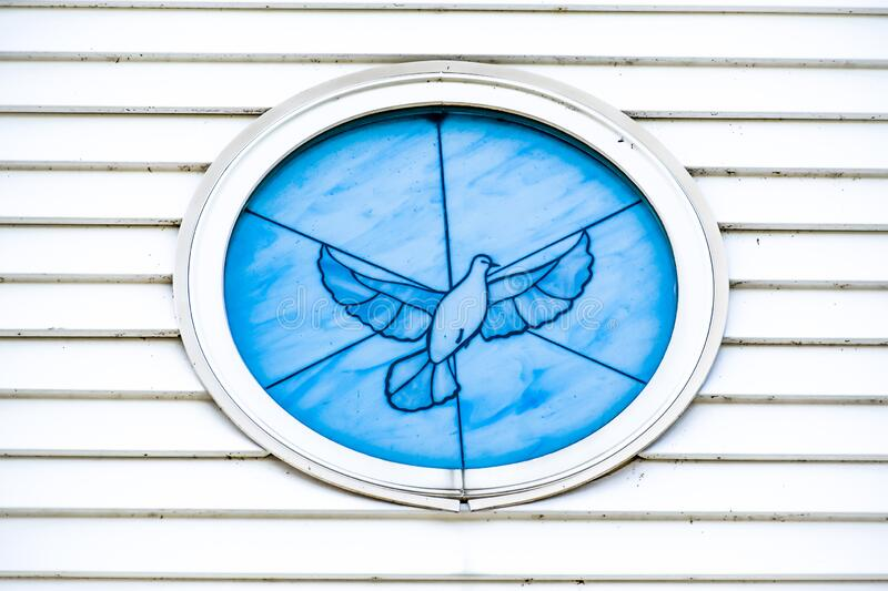 Church Circle Window with Dove, Peace stock image