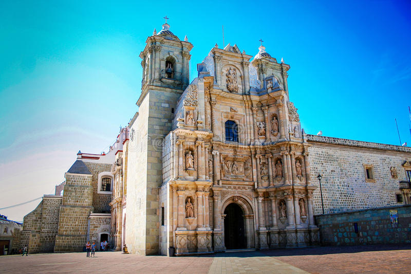 Church in the city of Oaxaca, Mexico blue sky.  royalty free stock image