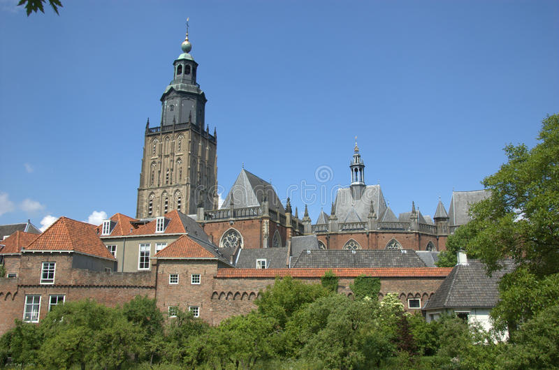 Church and city wall Zutphen royalty free stock image
