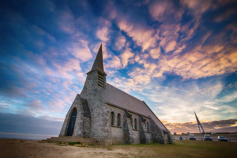 Church on cliff by Etretat, Normandy stock photo