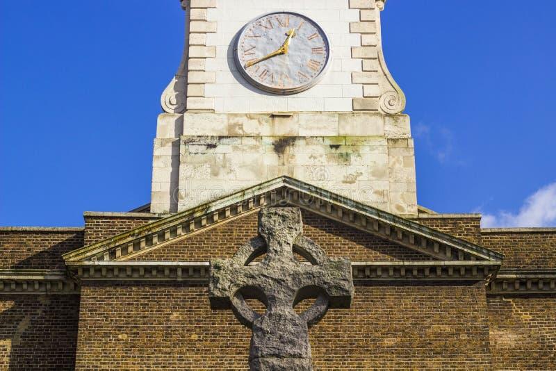 Church clock in Clapham common stock image