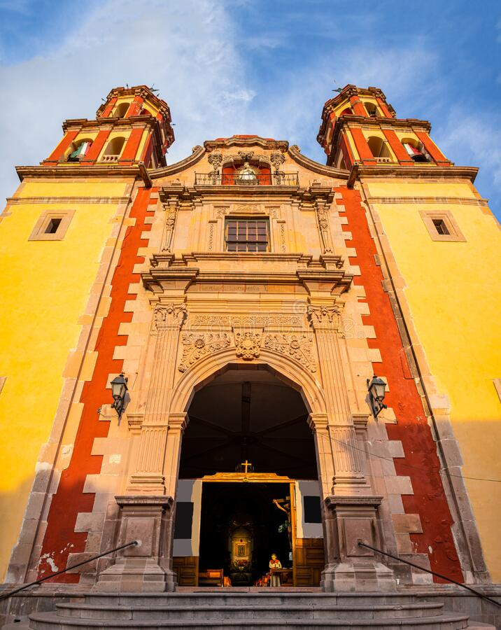 Santiago de Queretaro. Church of the Congregation of Our Lady of Guadeloupe in the city of Santiago de Queretaro, Queretaro, Mexico stock photo