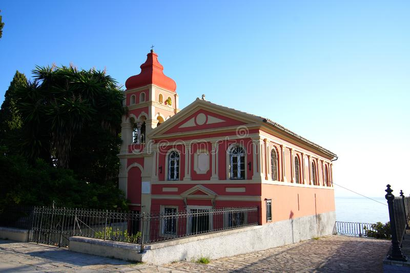 Church in Corfu Town which is located adjacent to Spianada Square. Picturesque Orthodox church in Corfu Town which is located adjacent to Spianada Square stock photography