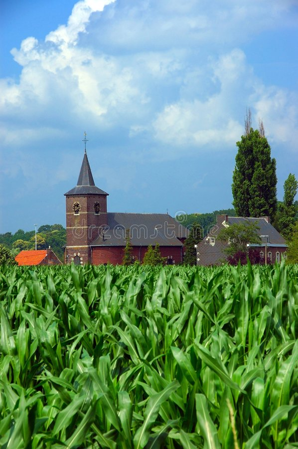 Download Church in corn field 2. stock photo. Image of blue, building - 161508