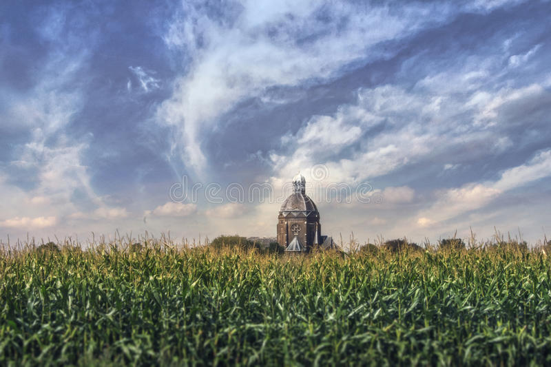 Church in a corn field royalty free stock photos