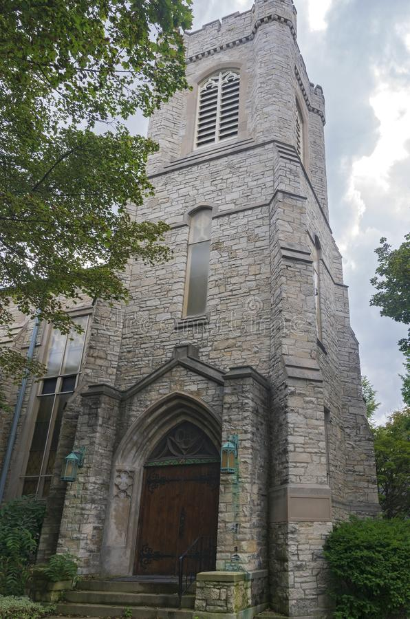 Church Corner and Gothic Tower in Milwaukee Wisconsin. Corner of gothic style church at entrance and tower in milwaukee wisconsin stock image