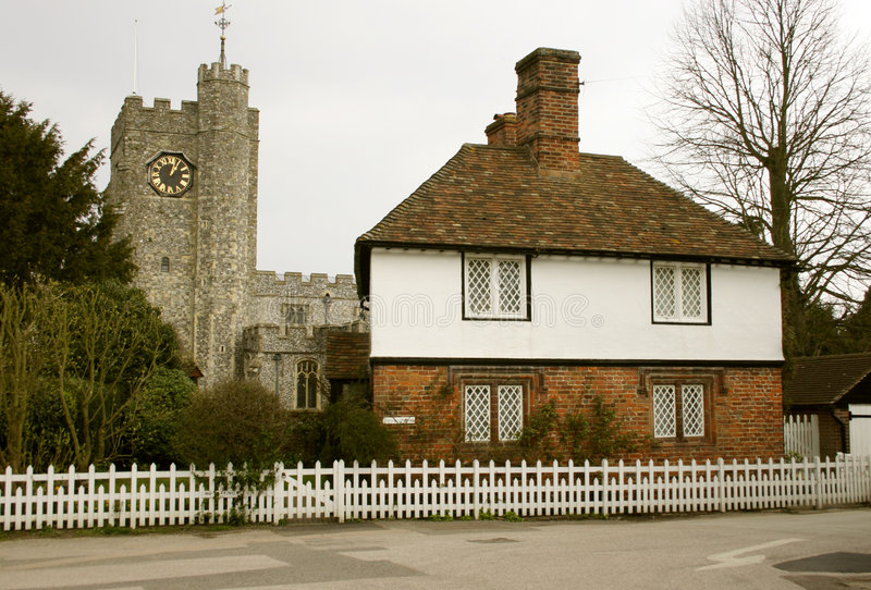 Download Church And Cottage In Village Stock Photo - Image: 32244