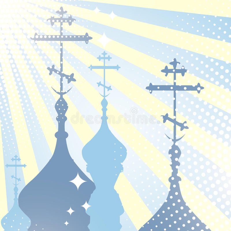 Church cupola. Religion scenery with church cupola silhouette and sun royalty free illustration