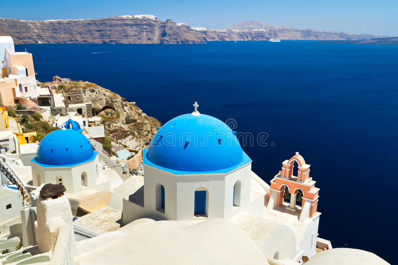 Church Cupolas and the Tower Bell on Santorini. Greece stock image