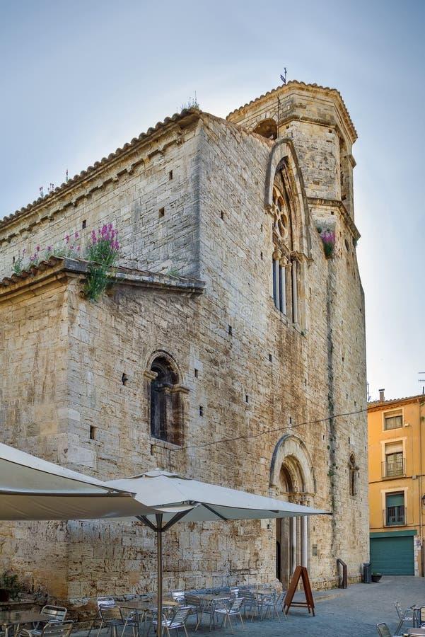 Church de San Vicente de Besalu, España foto de archivo libre de regalías