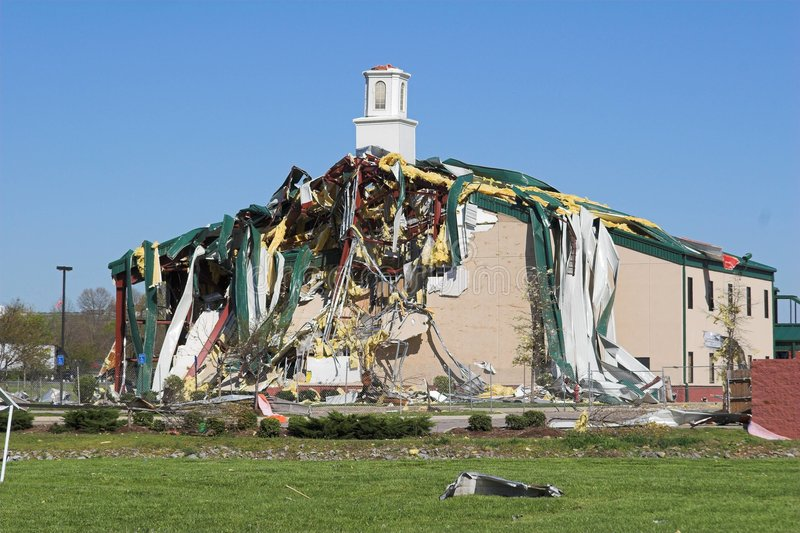 Church destroyed Tn. Church was destroyed by tornado, area has heavy damage from storms, steel beams bent like rubber royalty free stock photography