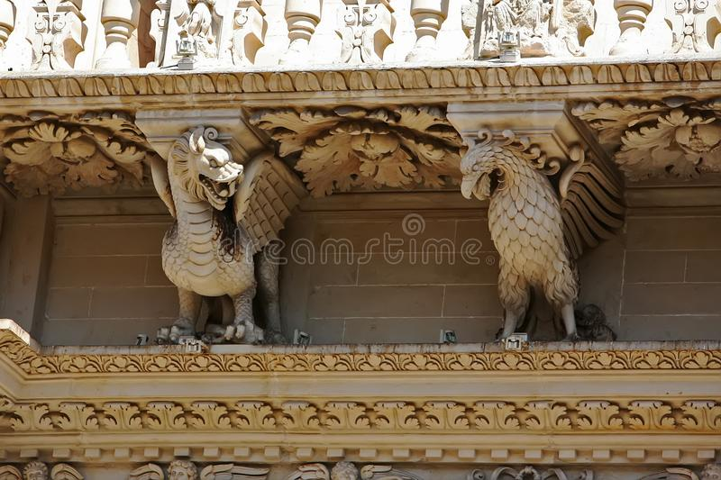 Church details of Santa Croce in Lecce, Italy stock photo