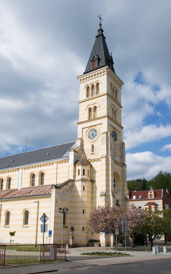 Kraslice, Western Bohemia, Czech republic. The church of the divine body in the center city Kraslice, Western Bohemia, Czech republic, Europe stock image