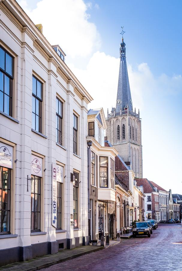 Church Doesburg, Netherlands. Doesburg, the Netherlands, February 2019: Main street with Martini church in Doesburg in the Netherlands royalty free stock image
