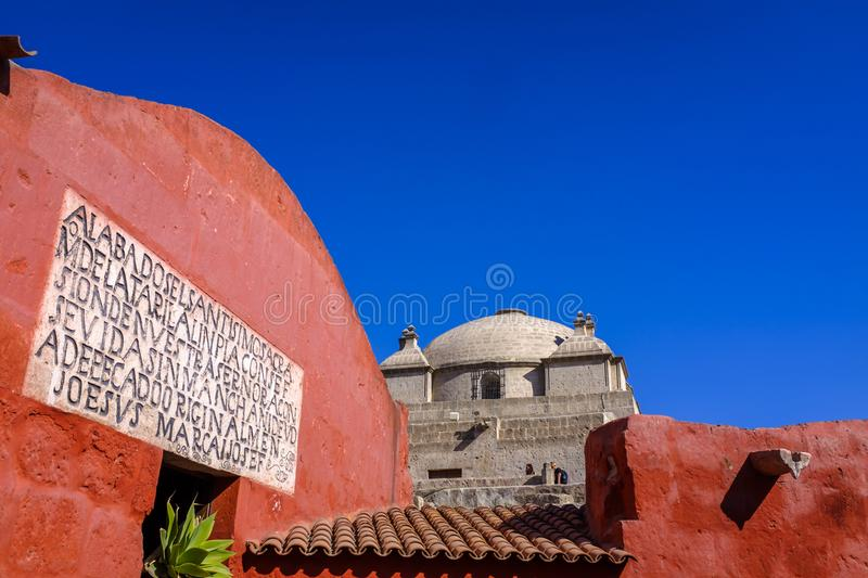 Church dome at Santa Catalina Monastery stock photo