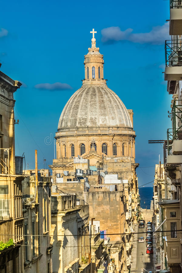 Church dome in Valetta, Malta royalty free stock photography