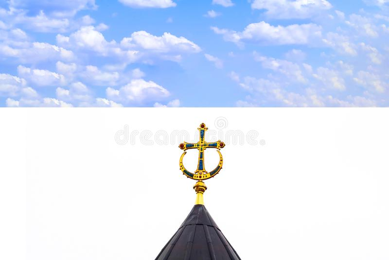 Church domes with orthodox crosses. The concept of Easter holidays. stock photos