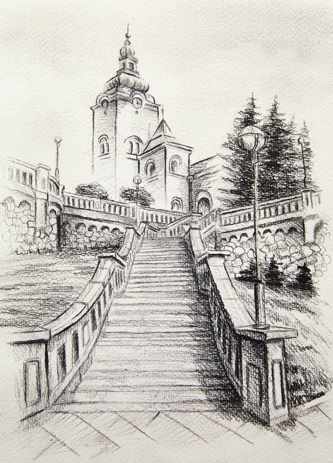 Church dominant in the old town pencil drawing on paper for Paesaggi a matita