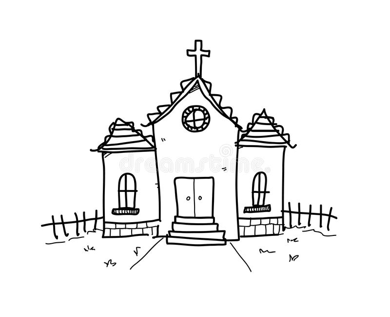 Church Doodle royalty free illustration