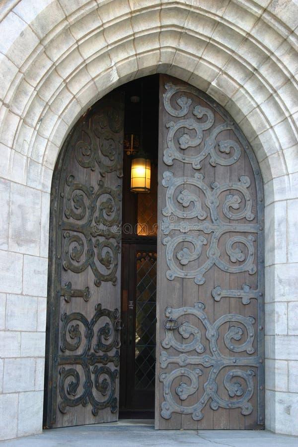 Church Door. Open church door with hanging light stock photos