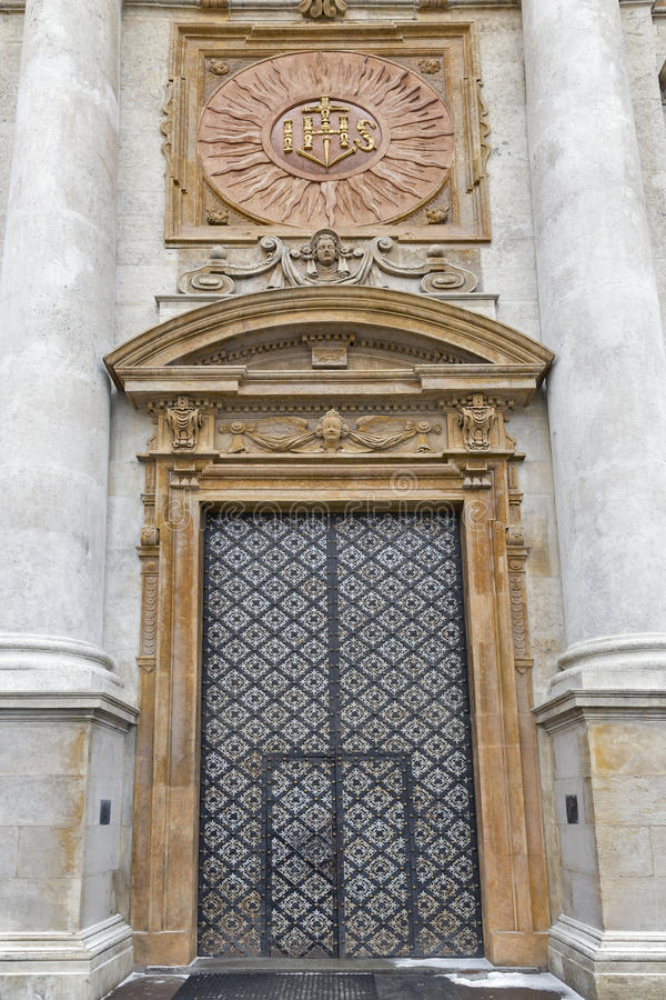 Church door of Holy Apostles Peter and Paul. Krakow, Poland. stock images