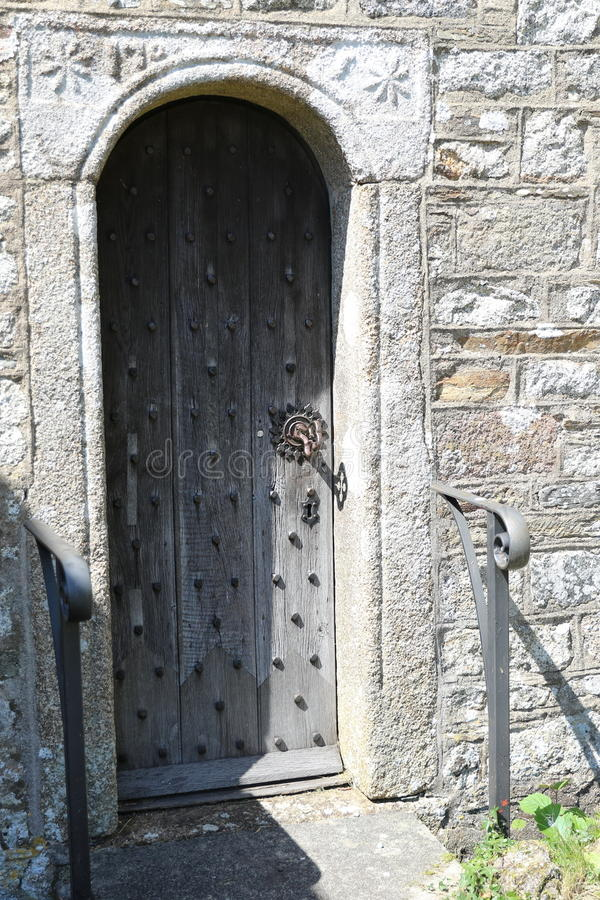 Church door Meavy Village Church. Located on Dartmoor national Park Devon UK stock photo
