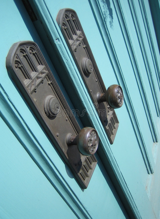 Church doors knobs royalty free stock photography