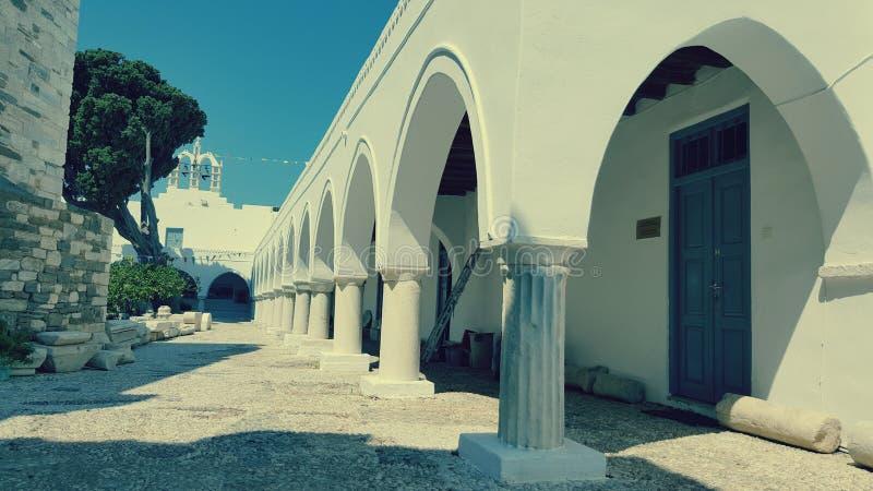 Church of 100 doors, Paros Island, Greece. Breezeway outside Church of 100 doors on Paros Island, Greece on sunny day stock image