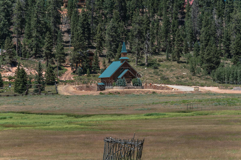 Church at Duck Creek Village, Utah. Duck Creek Village,Utah,USA - July 13, 2016 : View of the church of Duck Creek Village royalty free stock photography
