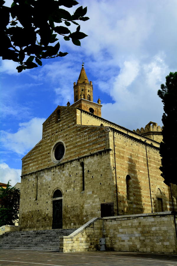 The church(Duomo) in Teramo Italy. The old church in Teramo still stands tall after hundreds of years of being around stock photo