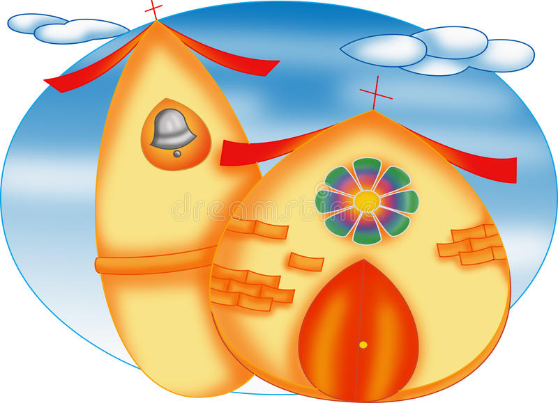 Church egg. Color illustration of a nice church to personalize their wedding tickets vector illustration
