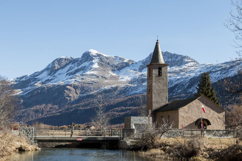 Church in engadin royalty free stock images