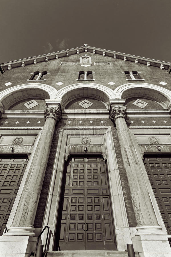 Church entrance with arcs and columns stock photo