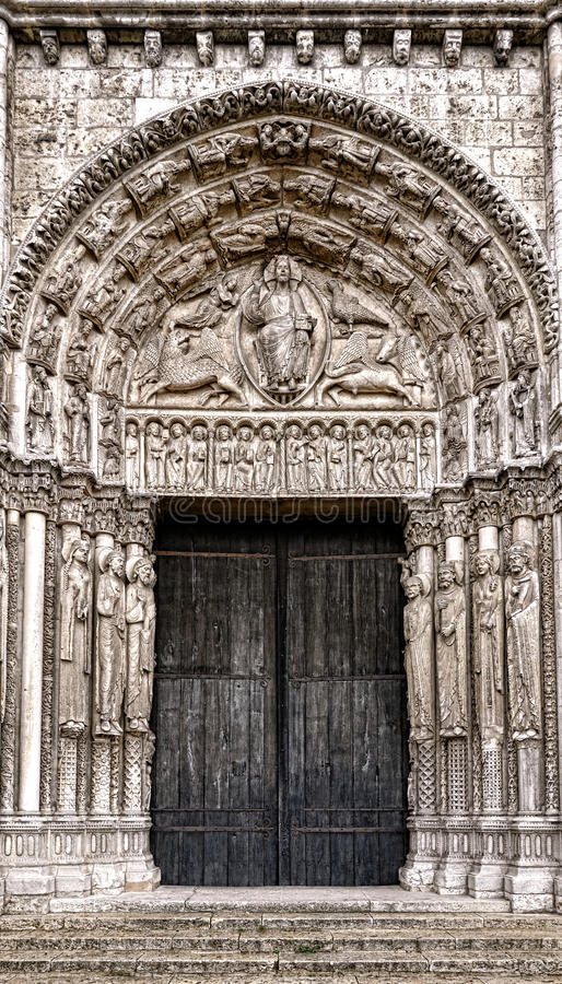 Download Church Entrance Portal And Doors Gothic Cathedral Stock Image