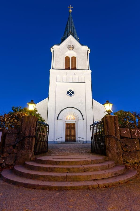 Church at evening time. Swedish church entrance at evening time stock photos