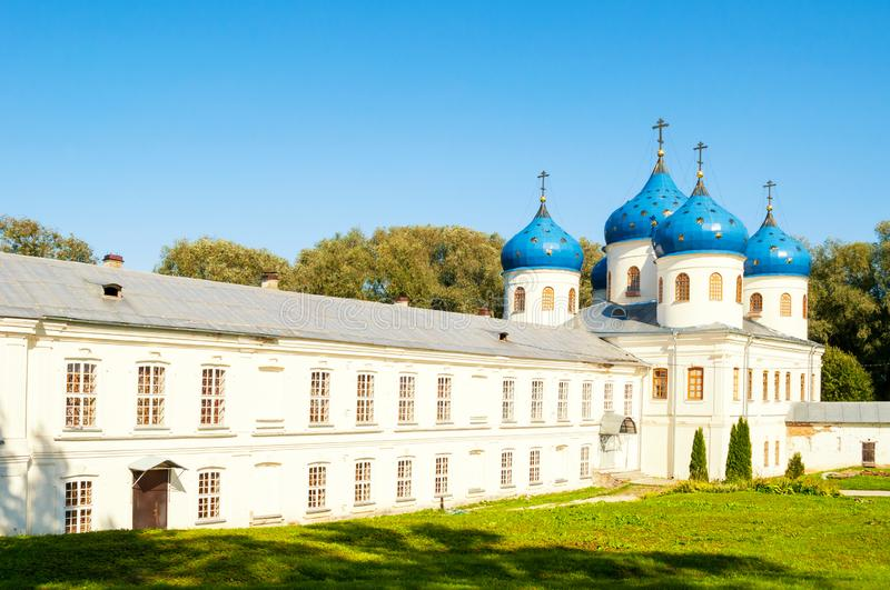 Church of Exaltation of the Cross in Russian orthodox Yuriev Monastery in Veliky Novgorod, Russia. Summer view stock image