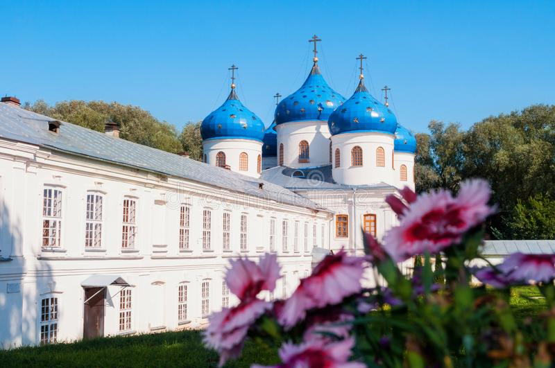 Church of Exhaltation of the Cross in Russian orthodox Yuriev Monastery in Veliky Novgorod in summer day royalty free stock photography