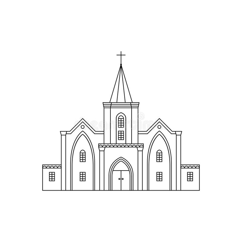 Sample Front Elevation Church : Church facade black line stock vector image of building