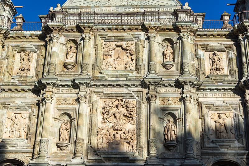 Church Facade Details. Details on Our Lady of the Assumption church in Oaxaca, Mexico royalty free stock images