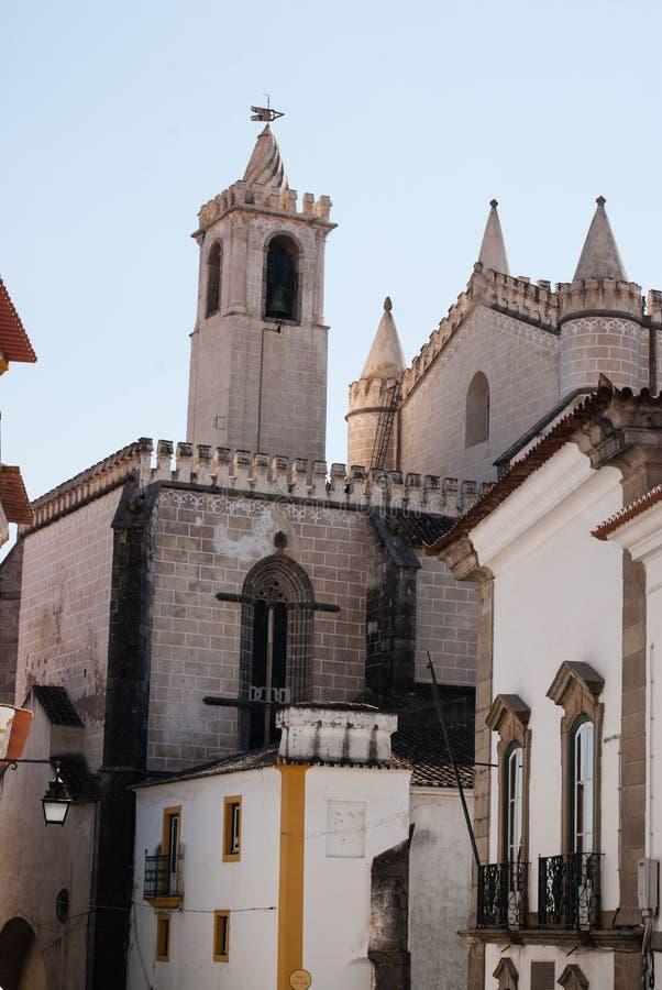 Church facade in Evora stock photos