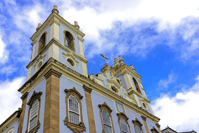 Church facade of Our Lady of the Black Rosary in Pelourinho in Salvador stock photography