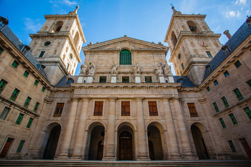 Church facade in the Royal Site of San Lorenzo de El Escorial royalty free stock photos