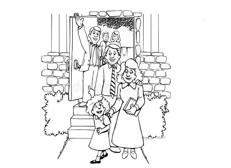 Church Family stock illustration