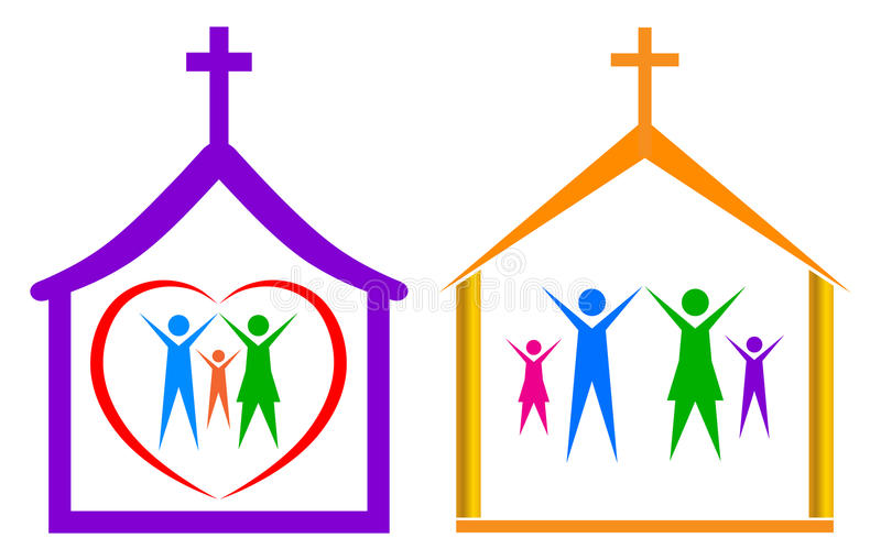 Church and family. Simple illustration of church and family on white background stock illustration