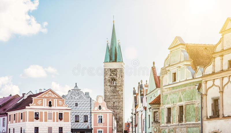Church and famous houses in Telc, Czech. Church of the Holy Spirit and famous 16th-century houses in Telc, Czech republic. Architectural scene. Unesco World stock photos