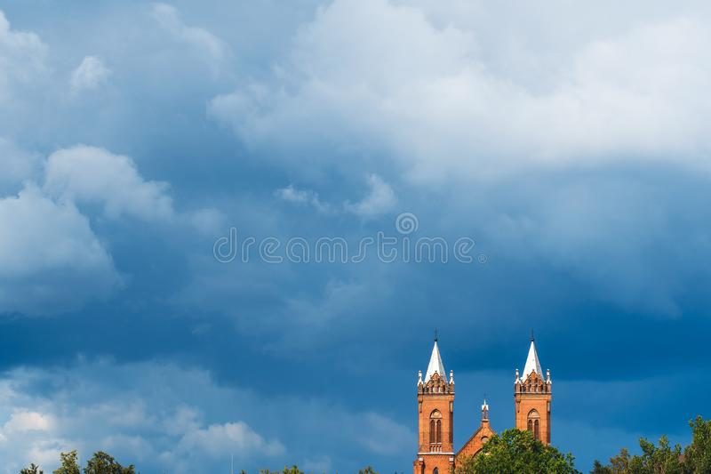 Church far away on the horizon royalty free stock photos