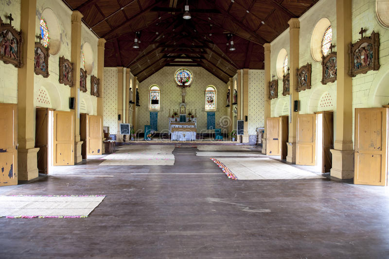 Church in Fiji. Interior of a church in Somosomo, Taveuni, Fiji clear of benches royalty free stock images