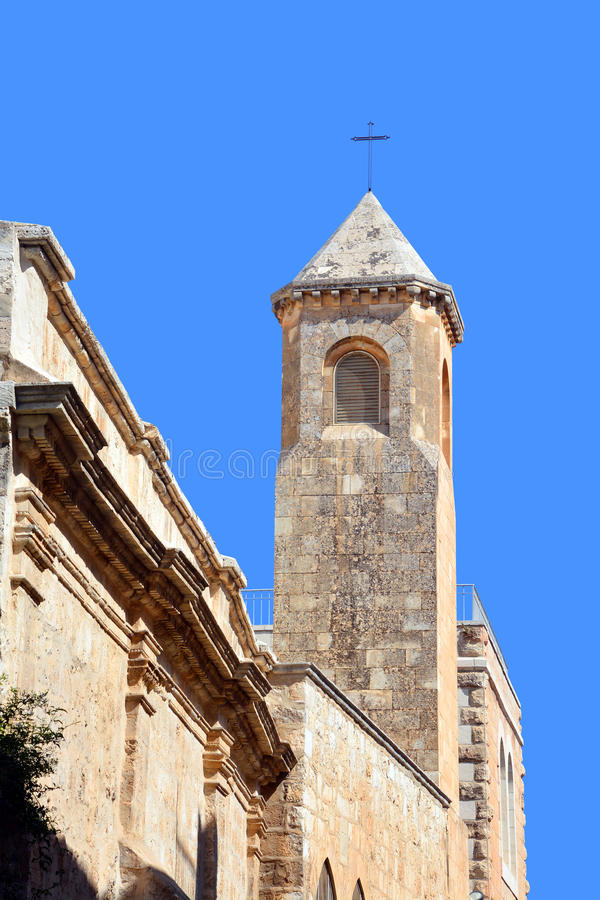 Church of the Flagellation. JERUSALEM ISRAEL 23 10 16: Church of the Flagellation, according to the Gospels on this place the Roman soldiers scourged Jesus stock image